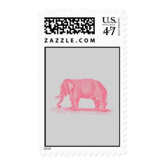 Vintage Pink Elephant on Gray 1800s Elephants Postage