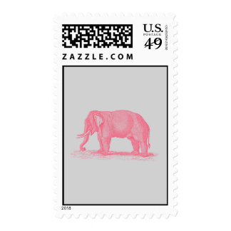 Vintage Pink Elephant on Gray 1800s Elephants Stamp