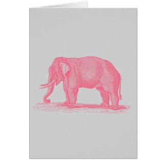 Vintage Pink Elephant on Gray 1800s Elephants Stationery Note Card