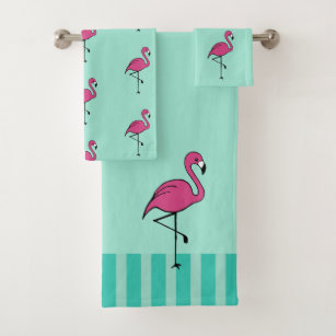 Vintage Pink Flamingo Bath Towels Set Gift
