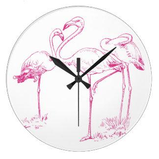 Vintage  Pink Flamingo Drawing Large Clock