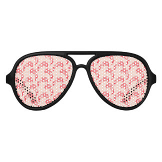 Vintage Pink Flamingo Pattern Aviator Sunglasses
