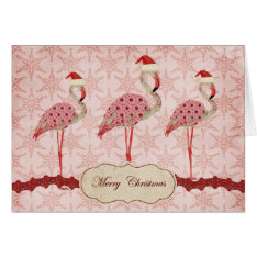 Vintage Pink Flamingos  Merry Christmas Card at Zazzle