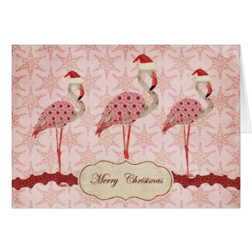 Christmas Themed Vintage Pink Flamingos  Merry Christmas Card