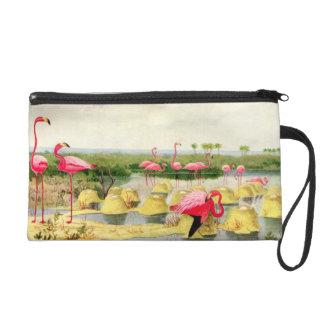 Vintage Pink Flamingos Print Wristlet