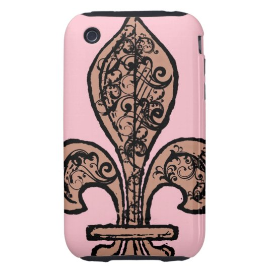 Vintage Pink Fleur de lis iPhone 3 Tough Case