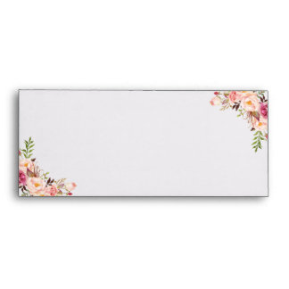 Vintage Pink Floral and Black White Stripes Inside Envelope