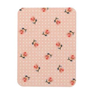 Vintage pink floral and dots magnet
