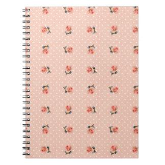 Vintage pink floral and dots spiral notebook