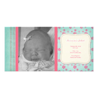 Vintage Pink Floral Birth Announcement Custom Photo Card