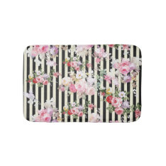 Vintage Pink Floral Black Yellow Stripes Pattern Bath Mat at Zazzle
