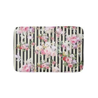 Vintage pink floral black yellow stripes pattern bath mat