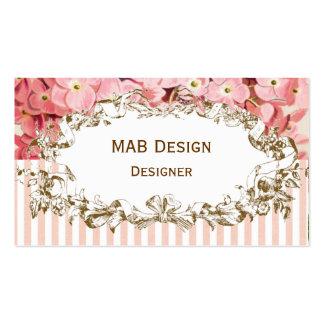 Vintage pink floral business card