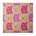 Vintage  Pink Floral Ceramic Tile