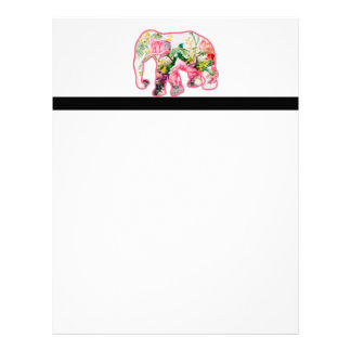 Vintage Pink & Floral Elephant Letterhead