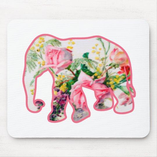 Vintage Pink & Floral Elephant Mouse Pad