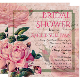 Vintage Pink Floral French Ephemera Bridal Shower Card