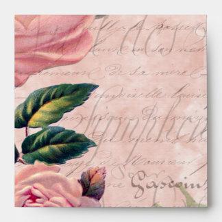 Vintage Pink Floral French Ephemera Envelope