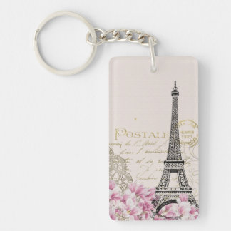 vintage pink floral, hina pattern eiffel tower keychain