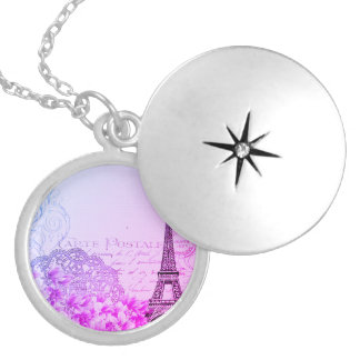 vintage pink floral, hina pattern eiffel tower silver plated necklace