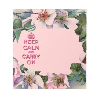 VINTAGE PINK FLORAL KEEP CALM AND CARRY ON NOTE PAD