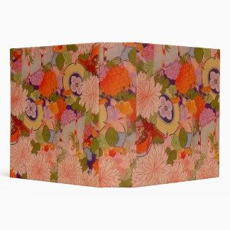Vintage Pink Floral Kimono Flower Pattern 3 Ring Binders