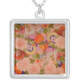 Vintage Pink Floral Kimono Flower Pattern Silver Plated Necklace