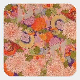 Vintage Pink Floral Kimono Flower Pattern Square Stickers