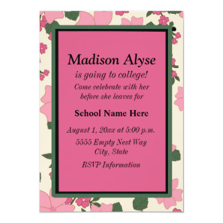 "Vintage Pink Floral ""Off To College"" Invitation"