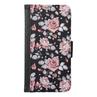 Vintage Pink Floral Pattern Galaxy S6 Wallet Case