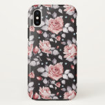 """Vintage Pink Floral Pattern iPhone X Case<br><div class=""""desc"""">Vintage Pink Floral Pattern Case-Mate Tough iPhone X Case. Contoured to fit the Apple iPhone X,  this Case-Mate case features a hard shell plastic exterior and shock absorbing liner to protect your device.</div>"""