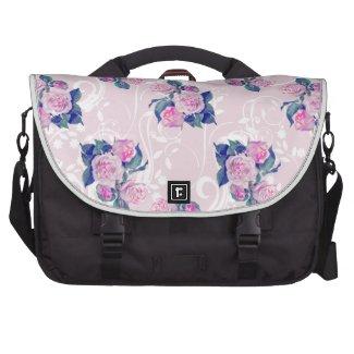 Vintage Pink Floral Pattern Laptop Computer Bag