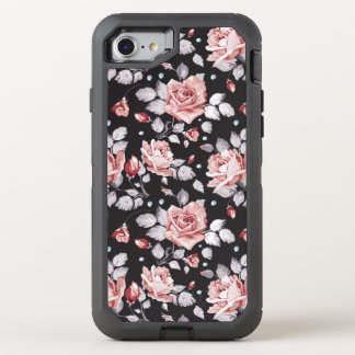 Vintage Pink Floral Pattern OtterBox Defender iPhone 8/7 Case
