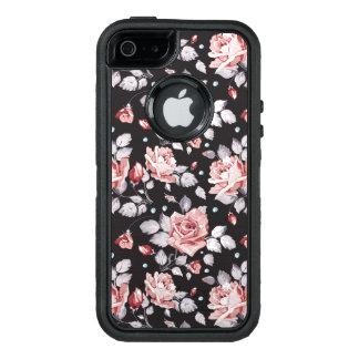 Vintage Pink Floral Pattern OtterBox Defender iPhone Case