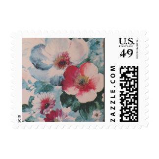 Vintage Pink Floral Pattern Stamps