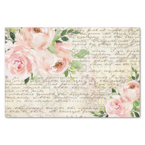 Vintage Pink Floral Roses Old Letter Decoupage Tissue Paper