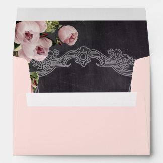 vintage pink floral  rustic chalkboard wedding envelopes