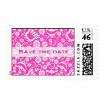 "Vintage pink floral ""Save the date"" postage"