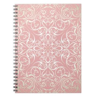 Vintage,pink,floral,victorian,gold,elegant,pattern Spiral Note Book