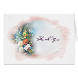 Vintage Pink Floral Watercolor Thank You Card