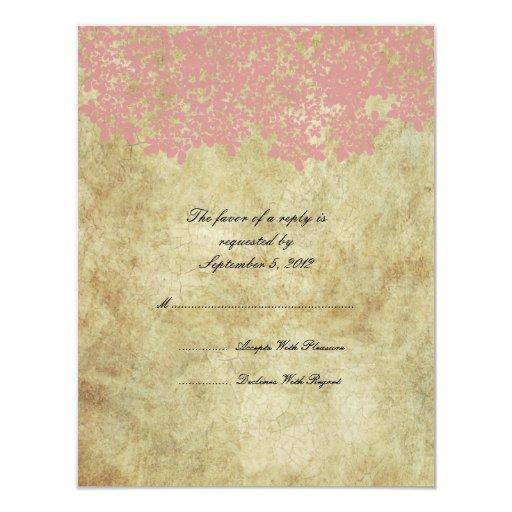 """Vintage Pink Floral Wedding RSVP 4.25"""" X 5.5"""" Invitation Card"""