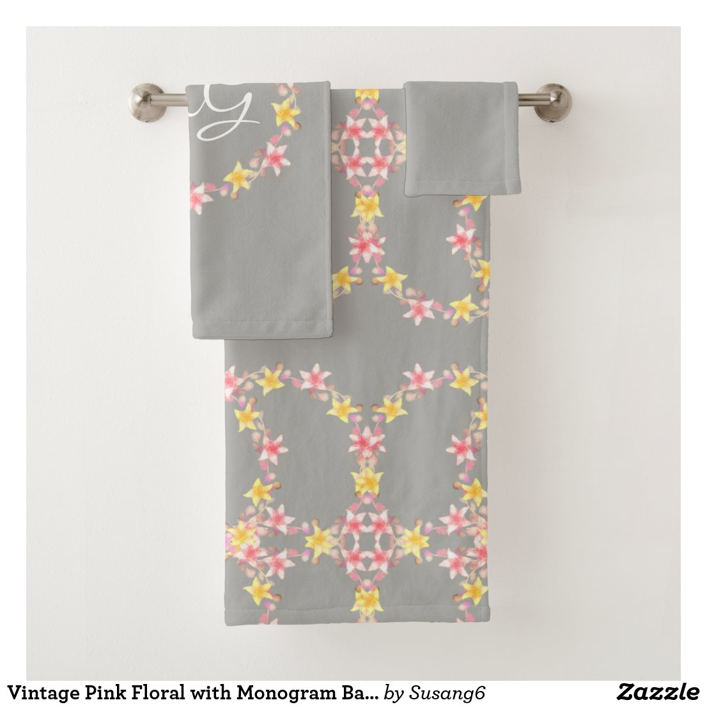 Vintage Pink Floral with Monogram Bath Towel Set