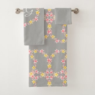 Vintage Pink Floral with Monogram Bath Towel Set