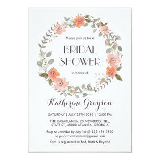 Vintage Pink Floral Wreath Bridal Shower Invite