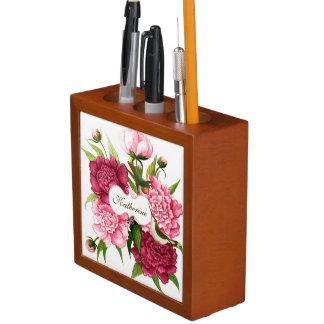 Vintage Pink Flower and Hummingbirds Custom Desk Organizer