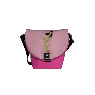 Vintage Pink Flower Fairy Graphic Courier Bag