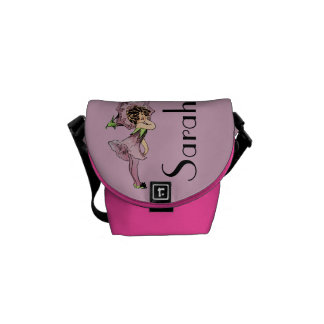 Vintage Pink Flower Fairy Graphic Customisable Courier Bag