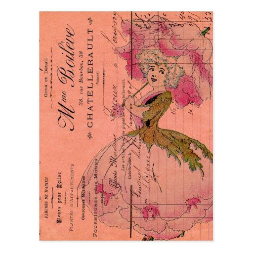 Vintage Pink Flower Fairy Postcards