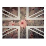 Vintage Pink Flower Union Jack British(UK) Flag Postcard