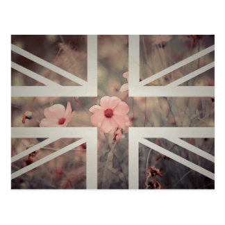 Vintage Pink Flower Union Jack British(UK) Flag Postcard